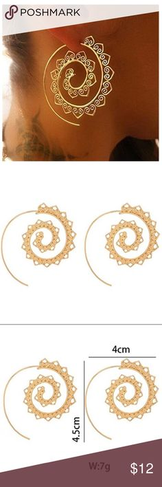 Spiral Fashion Earrings - Gold Color, Alloy Metal Brand New - comes in plastic coveting & gift bag! Gorgeous tribal inspired design, these spiral earrings are attention getters! They come with backing for the wire to secure the spiral in place! Gold colored alloy metal. Fashion jewelry item - gets so many compliments!! Jewelry Earrings