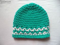 This week's Guest Contributor Post is from Made in Craftadise Designer Salma Sheriff's. She presents this free crochet pattern for a Tile Green Valley Hat and it is absolutely adorable. I love how she added the v-stitch design in alternating colours!