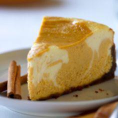 Eggnog pumpkin swirl cheesecake...  Thanksgiving AND Christmas!
