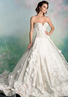 Floral petal silk ball gown with sweetheart neckline and beaded embroidery   9a15147d2960