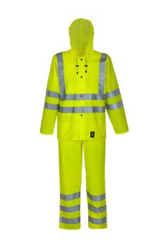 WATERPROOF WARNING CLOTHING Model: 1101R/1011R The suit contains a jacket and bibpants. The jacket is fastened with snaps. The bibpants have adjustable elasticated braces. Reflective tapes on jacket and bibpants make workers more visible. The model is made on waterproof fabric Plavitex Fluo and it has been designed to be used at unfavorable weather conditions where visibility is limited. Thanks to double welded high frequency seams the product protects against rain and wind.