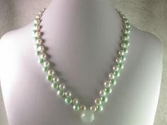 Mint Green Freshwater Pearls and Quartz Beaded Necklace by NaturesJewelsByVina