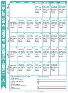 Cleaning + Organizing Calendar January 2014 via Clean Mama