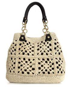 Crocheted handbag Bag Crochet, Crochet Handbags, Crochet Purses, Love Crochet, Crochet Granny, Crochet Stitches, Crochet Summer, Granny Square Bag, Knitted Bags