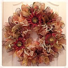 Fall Deco Mesh Wreath/Autumn Deco Mesh by CKDazzlingDesign on Etsy