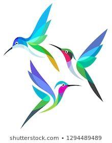 Similar Images, Stock Photos & Vectors of Stylized Birds - Hummingbirds in flight - 1294489489 Art Colibri, Photographie Street Art, Fabric Paint Designs, Hummingbird Art, Bird Drawings, Art Graphique, Fabric Painting, Watercolor Illustration, Beautiful Birds