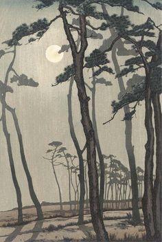 Yoshijiro Urushibara (1888-1953) A woodblock print in sumi and colour on paper depicting a full moon shining through pine.