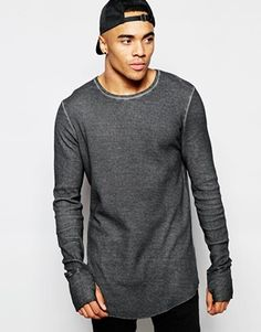 ASOS Waffle Jersey Longline Long Sleeve T-Shirt In Oil Wash With Thumbholes  Modelos Masculinos 8d4499bb4c3