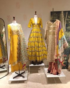 Image may contain: 1 person, standing Clothing Boutique Interior, Boutique Decor, Indian Gowns, Indian Outfits, Indian Attire, Clothing Store Displays, Fashion Mannequin, Beautiful Dress Designs, Lace Evening Gowns