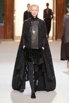 Damir Doma's fall 2012/2013 collection at Paris Fashion week. Took inspiration from the late Middle ages using historic men's middle ages looks for women's apparel today.