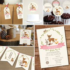 Woodland Baby Shower Printable Set for a Girl por SunshineParties