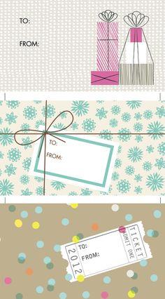 : Free Printable Gift Tags http://www.jessicajonesdesign.com/downloads/hellolucky_gift_tags_2012.pdf