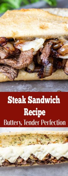 A steak sandwich with buttery bread juicy steak and caramelized onions. The perfect dinner for large groups. A steak sandwich with buttery bread juicy steak and caramelized onions. The perfect dinner for large groups. Steak Sandwich Recipes, Steak Recipes, Chicken Recipes, Cooking Recipes, Best Steak Sandwich, Dinner Sandwiches, Healthy Sandwiches, Steak Sandwiches