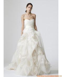 2013 Neue romantische Brautkleider aus Organza und Satin A-Linie mit Ruffle Herzausschnitt