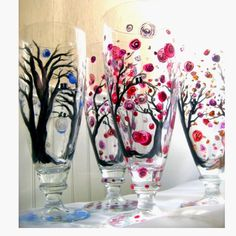 painted glass ware | Painted wine glasses | Cheers!