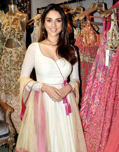 Aditi Rao Hydari looking ethereal in an Anarkali suit at an boutique opening in Mumbai. #Bollywood #Fashion #Style #Beauty #Hot #Desi