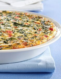 """Quick Italian Spinach Pie -- Tangy roasted red peppers kick up the flavor in this """"eggs-cellent"""" spinach pie. Follow Eggland's Best at  pinterest.com/egglandsbest/ for more delicious ideas, fun things in the kitchen and other eggciting things!"""