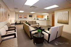 NexCore worked closely with physician tenants in Pavilion A to design comfortable, non-clinical waiting areas. Warm color palettes, plush furniture, prominent artwork, and live plants were chosen to create a welcoming environment for patients.