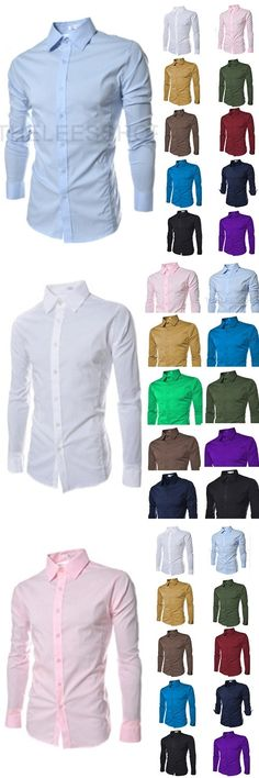 Brand New Men's Casual Shirt Social Solid Color Shirt Full Sleeve Turn Down Collar
