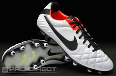 Nike Football Boots - Nike Tiempo Legend IV FG - Firm Ground - Soccer Cleats - White-Black-Total Crimson