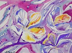 Original watercolor painting, 'Abstract Flowers', by Lynn Cyrus / Cascade Colors. This piece is based off of a photo I took of some white tree blossoms in early spring. I chose to use a more abstract expressionist style, interpreting these flowers using many bright colors and tones. This piece would be great as not only a standalone art piece on your wall, but also looks fantastic on decorative throw pillows or duvet covers.