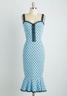 In the Groove Dress in Sky Blue Dots From the Plus Size Fashion Community at www.VintageandCurvy.com