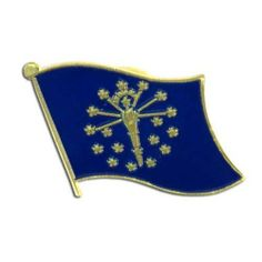 """Indiana Flag Lapel Pin by US Flag Store. $1.29. Baked Enamel Finish. Low Cost Shipping Available!. Approx 3/4"""" x 1/2"""". Gold Metal Lacquered Design and Clutch Pin. State Flag Lapel Pin. The Indiana flag lapel pin is a great way to show your support for your state. Our pins cost less than our competitors, but are equal or higher quality. We sell thousands of pins a week, and we pass the savings on to you! This Indiana Flag lapel pin has an all gold metal lacquered design with a m..."""