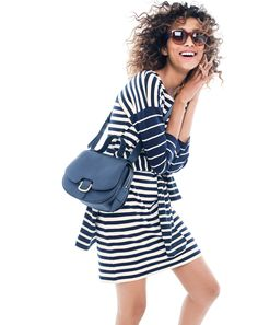 J.Crew Looks We Love: women's colorblock stripe ponte dress, Sam sunglasses, Rider bag and Saint James® unisex Meridian II nautical T-shirt.