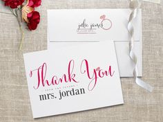 Hot Pink Bridal Shower Thank You Cards!