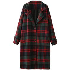 Belted-cuffs Buttoned Loose Long Plaid Coat ($78) ❤ liked on Polyvore featuring outerwear, coats, blackfive, jackets, coat/jacket, coats & jackets, tartan coat, plaid coat, button coat and long coat