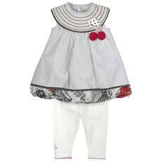 Catimini - Robe rayée et legging en jersey de coton - Ivoire, gris et rouge - 104698