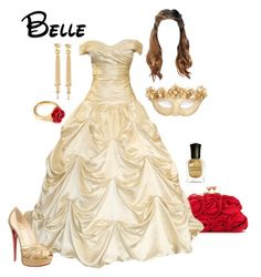 Disney - Belle by briony-jae on Polyvore featuring polyvore fashion style Masquerade Christian Louboutin Love Moschino LeiVanKash Arme De L'Amour Deborah Lippmann