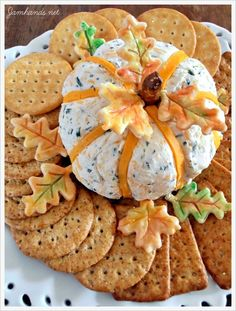 cheddar and chive pumpkin cheese ball.
