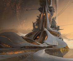 Colony by artist Titus Lunter. Cyberpunk City, Futuristic City, Futuristic Design, Futuristic Architecture, Fantasy City, Fantasy Places, Fantasy Art Landscapes, Fantasy Landscape, Fantasy Concept Art