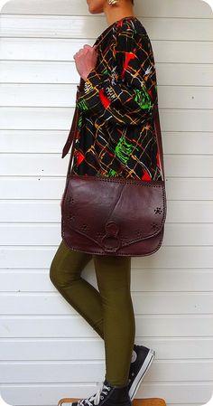 VINTAGE LEDER Tasche Schultertasche Saddle Bag Boho Messenger Hippie Crossover | eBay