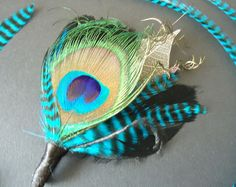Peacock feather boutonniere simple boutonniere lapel mens peacock feather boutonnieres  by eeek