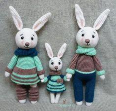 Семья зайцев амигуруми: схема вязания и описание