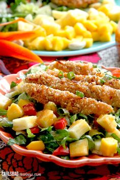 Crispy Coconut Cashew Chicken Tropical Salad with Pineapple Ginger Vinaigrette | http://www.carlsbadcravings.com/crispy-coconut-cashew-chicken-tropical-salad-pineapple-ginger-vinaigrette/