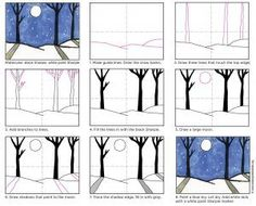 Sharpie Trees with Snow Shadows · Art Projects for Kids. Winter art projects for elementary students work best, I believe, when the subject and supplies are kept simple, simple, simple. - Winter Painting · Art Projects for Kids Winter Art Projects, Projects For Kids, Simple Art Projects, Craft Projects, Christmas Art Projects, Winter Landscape, Landscape Art, Landscape Diagram, Landscape Paintings
