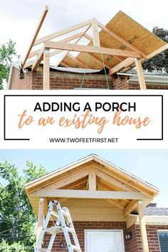 Do you want to add some curb appeal to your front porch? Or maybe update those dated columns? See this front porch makeover becasue the before and after is pretty inspiring! roof Adding a front porch to an existing house