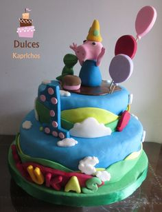 Torta Chanchito George facebook.com/dulces.kaprichos.chile Tortas Peppa Pig, Chile, Birthday Cake, Facebook, Desserts, Food, Sweet Treats, Tailgate Desserts, Birthday Cakes