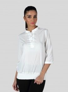 MOJO PIN TUCK Top IN White  Rs. 1,299