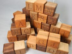Hand Crafted Wooden Alphabet Blocks  by LiveLoveDesigns7 on Etsy