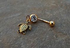 Turtle Gold Belly Ring Navel Ring Body Jewelry 14ga Surgical Steel Piercing Jewelry