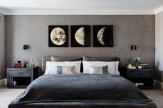 "The master bedroom is immediately set apart from the rest of the home with a dark and moody vibe. How much more moody can you get than these <a href=""https://www.restorationhardware.com/catalog/product/product.jsp?productId=prod1870285&categoryId=cat1676055"" target=""_blank"">moon prints</a>?"