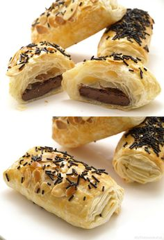 Goal - Italian Pastries, Pastas and Cheeses - Useful Articles Italian Pastries, Italian Desserts, French Pastries, Sweet Recipes, Snack Recipes, Dessert Recipes, Cooking Recipes, Nutella, Puff Pastry Recipes
