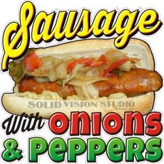 """24"""" Sausage w/ Onions & Peppers Hot Dog Concession Trailer Food Truck Sign Decal #SolidVisionStudio"""