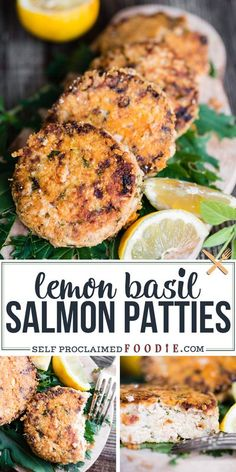 Crispy Parmesan Lemon Basil Salmon Patties, made with canned salmon and fried to perfection, are a delicious and easy way to serve a flavorful salmon meal! Lemon zest, lemon juice, and lemon basil add bright, fresh, citrus flavor to these savory melt-in-your-mouth salmon patties. #salmonpatties #cannedsalmon #recipe #easy #lemon #basil Vegan Kitchen, Kitchen Recipes, Cooking Recipes, Healthy Recipes, Grilling Recipes, Easy Dinner Recipes, Summer Recipes, Breakfast Recipes, Easy Recipes
