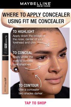 How To Use Makeup, Learn Makeup, Simple Makeup, Beauty Makeup Tips, Makeup Inspo, Makeup Inspiration, How To Apply Concealer, Best Concealer, Contour Makeup