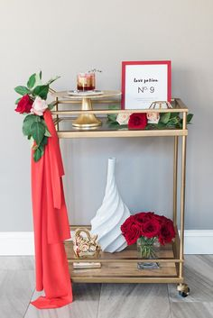 Valentine's Day bar cart |  | Photo by Cathy Durig | Styling by Social 10 Events